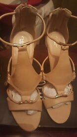 New Look Uk Size 8 Ivy Nude Faux Leather Strappy Ankle Heels