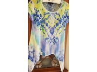 Ladies B.L.E.U. Lime Green & Blue (with Sparkly Beading) Tunic Top Size L - 12/14