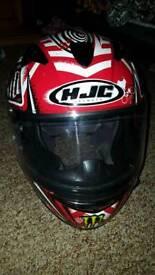 HJC XL motorcycle helmet red black white sunglasses