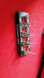 Guinness lineout pub club bar mancave tray display with 4 glasses