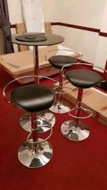 Bistro table and 3 stools