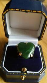 18 carat gold and jade handmade ring heavy unique one of a kind
