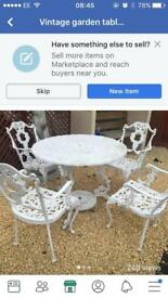 Cast allimium garden table and chairs