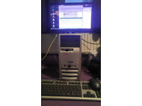 """Desktop Tower PC with 19"""" Packard Bell Monitor. """"GB Ram, 60GB HDD, P4 @ 2.4ghz"""