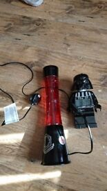 Star wars lava lamp and darth vader alarm clock