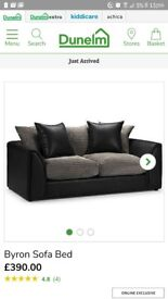 Dunelm byron black and grey sofa bed