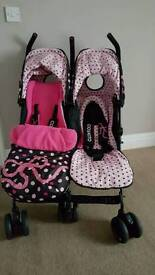 Cossatto Double Buggy. Black/Pink