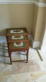 Danish retro nest of tables with tiled top