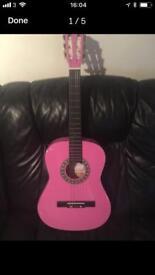 Girls pink guitar