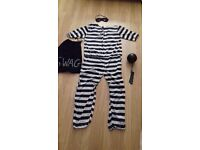 ROBBER / BURGLAR / THIEF FANCY DRESS COSTUME OUTFIT WITH BALL AND CHAIN AND HANDCUFFS, USED ONCE