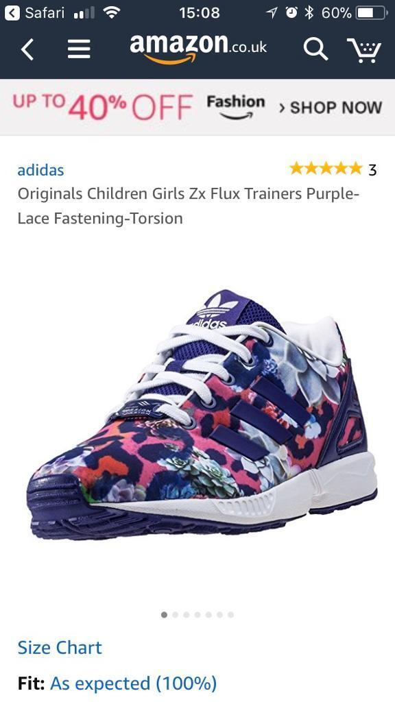 390c8ad0a9733 Adidas Girls Zx Flux Trainers Purple-Lace