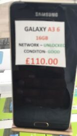 GALAXY A3 16GB UNLOCKED CONDITION GOOD