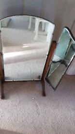 Antique 3 fold dressing table mirror