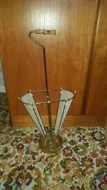 Antique vintage brass umbrella stand