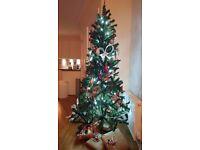 Christmas Tree and full setup + hanging snowflake light