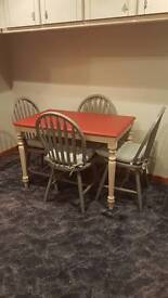 Worth £400 Shabby chic dinner table and 4 chairs plus cushions