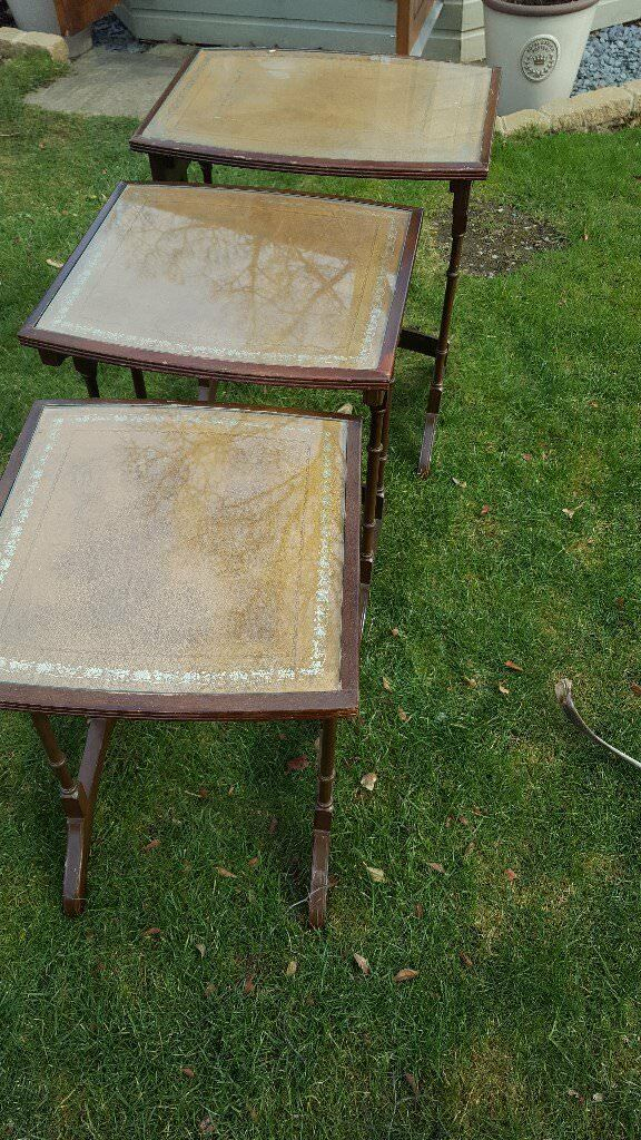 Nest Of 3 Glass Top Tables
