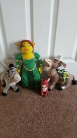 "DreamWorks Shrek soft toys- Fiona 15"", small Dragon 5"", Donkey Knight 11"", Donkey 10"""