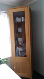 Solid Wood Glass Display Cabinet - 2 matching items available, separate costs