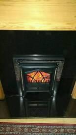 Granite fire surround & electric fire