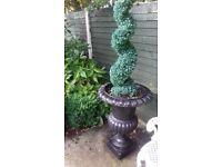 Pair of Vintage Cast Iron Garden Planters