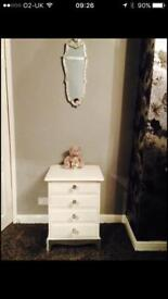 Stag drawers painted white with silver base and Diamanté detail