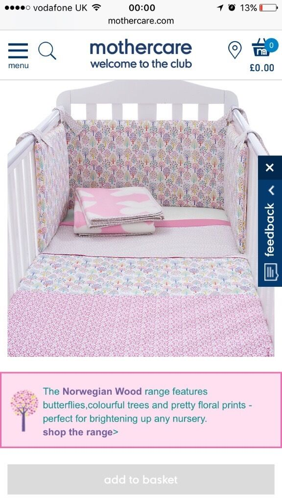 Full baby girl cot set with mobile & cot pockets included
