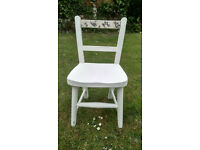 Victorian school chair in shabby chic chalk white, decopage back rail - ideal childs bedroom