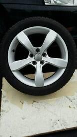 Audi 5 stud alloy wheels & tyres.