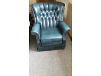 2x blus leather arm chairs