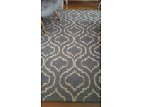 Large duck egg blue colour pure wool rug