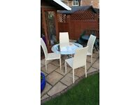 GLASS TABLE & 4 CHAIRS ( WHITE)