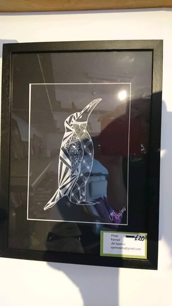 Framed penguin zentangle original.