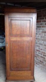 Antique solid dark wood wardrobe h185 w68 d 32