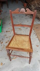 Edwardian Cane Seated Wooden Chair - 2 Of 4