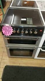 FLAVEL BLACK AND SILVER 60CM WIDE DOUBLE OVEN ELECTRIC COOKER