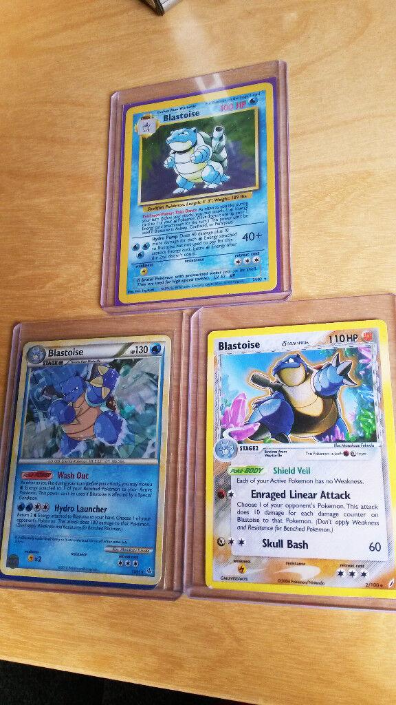 Pokemon cards - rare and holo Blastoise cards incl original base set holo