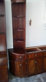 Mahogany dark brown wood coloured veneered matching units