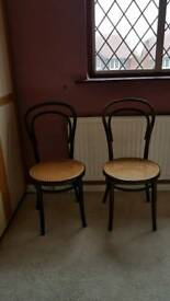 Bent wood cane chairs (2)