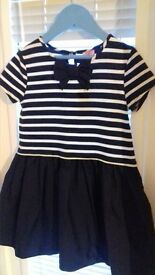 Brand New Girls Dress (aged 5-6) blue and white summer dress