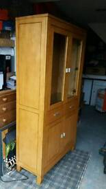 Solid wood Oak display cabinet