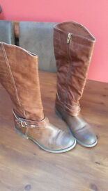 Brown knee length Boots size 5