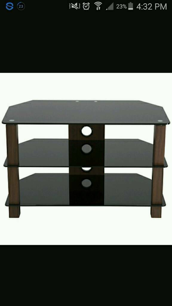 Walnut wood & black glass TV unit brand new packed