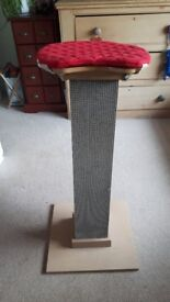 Large cat scratching post with wooden perch and removable cushion