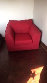 Red two seater sofa and armchair
