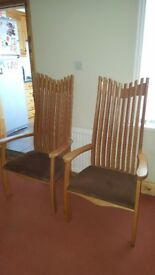 Dining Chairs x 2. Bigger than normal dining chairs. Be lovely in any room. Padded seat cushion.