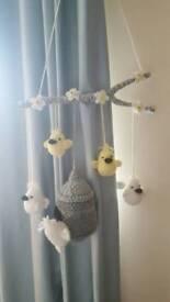 Crochet bird cot mobile