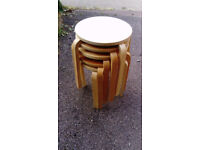 Set of 5 round wooden stools