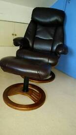 Brown leather faux chair and foot rest