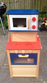 Lovely Wooden Play Kitchen Cube With Play Food etc